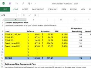 Screenshot of the Income-Based Repayment (IBR) Calculator spreadsheet